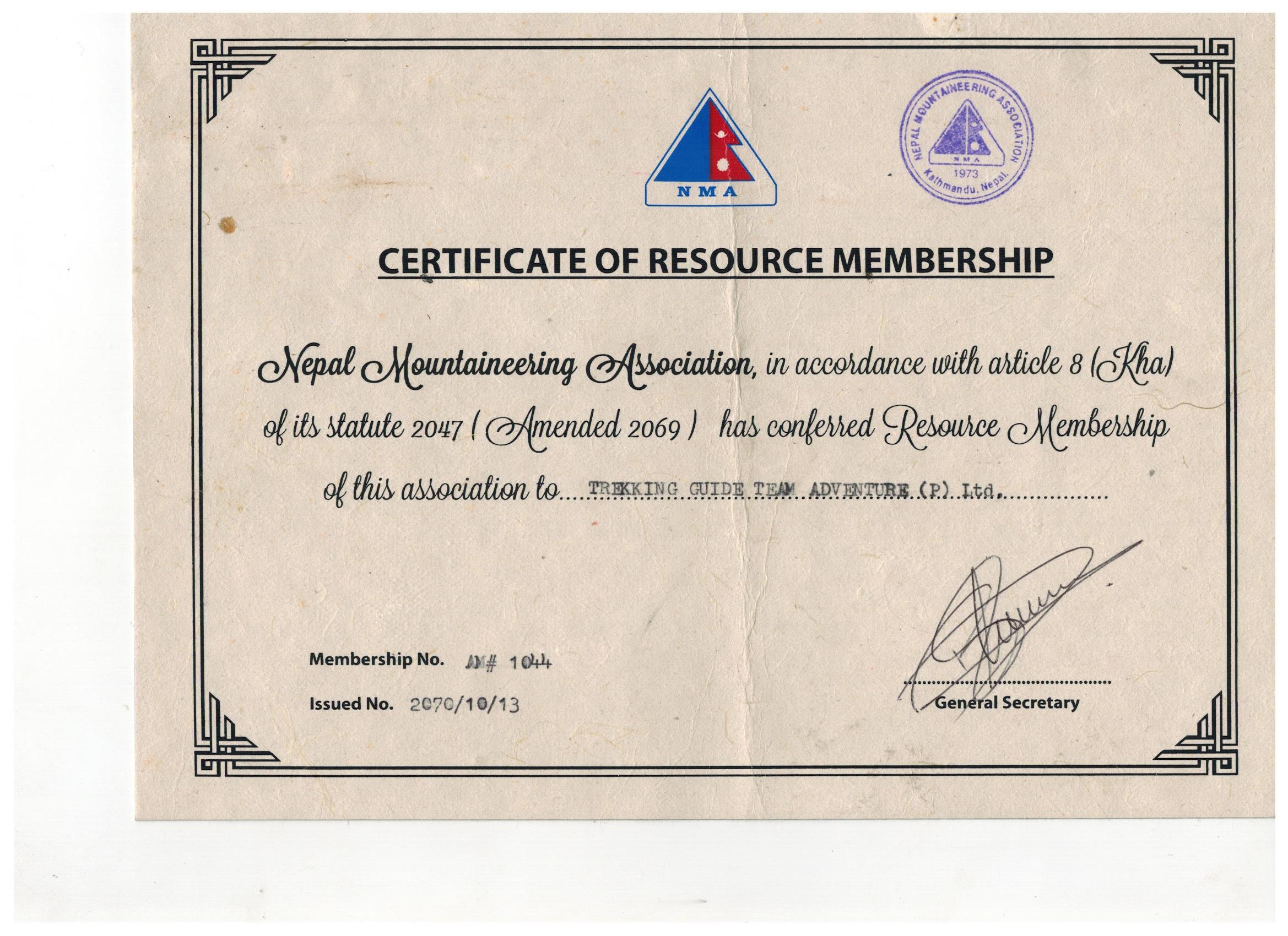 Resource Membership Certificate